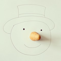 Illustration of snowman with carrot nose