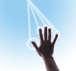 Studio shot of man's hand touching digital touch screen