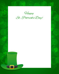 St Patrick's day background with card and hat