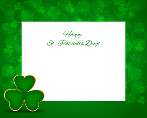 St Patrick's background with card with shamrock