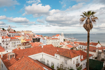 Portugal, Lisbon, View over old town