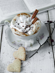 Cup of Cappuccino Coffee with whipped cream and cinnamon.