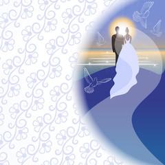 Bridegroom, bride, sunrise in semicircular window