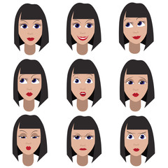 Set of variation of emotions of the same girl
