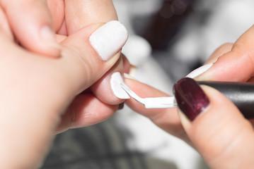 professional manicure in a beauty salon