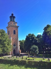 Sweden, Stockholm, View of Maria Magdalena Church
