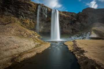 Iceland, Seljalandsfoss waterfall shot with long exposure
