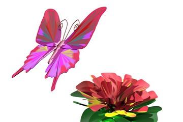 Kleurige vlinder bij bloem
