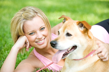 Park: Cute Woman with Dog