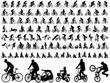106 high quality bicyclists silhouettes - vector - 77400819