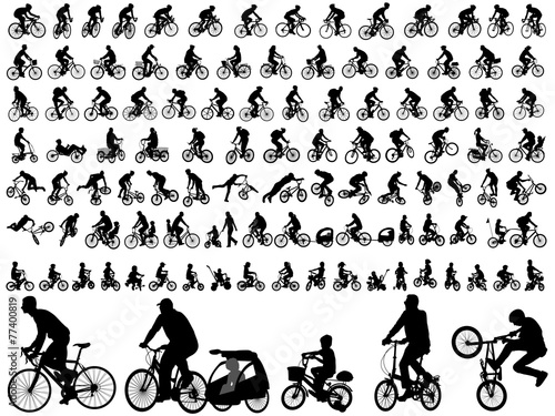 Aluminium Sportwinkel 106 high quality bicyclists silhouettes - vector