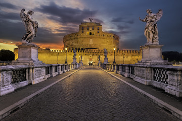 Italy, Rome, Sculptures of Guardian Angles on bridge