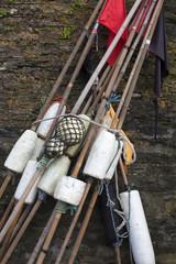 Markierungsbojen für Fischernetze, Mevagissey,Großbritannien