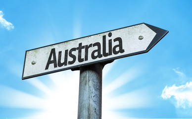 Australia sign with a beautiful day