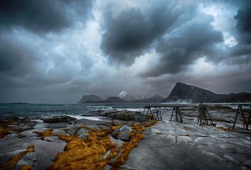 Norway, Lofoten Island, Sandnes, Sea coast with storm clouds