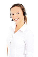 Smiling call center woman
