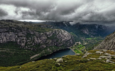 Norway, Forsand, Lysebotn, Storm clouds above mountain range