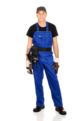 Full length mature worker with tool belt