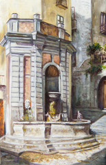 oil painting of a fountain in Salerno