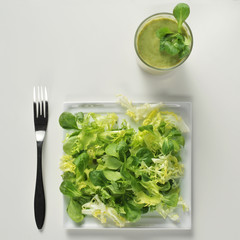 salad and green smoothie