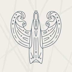diving fin pattern sketch