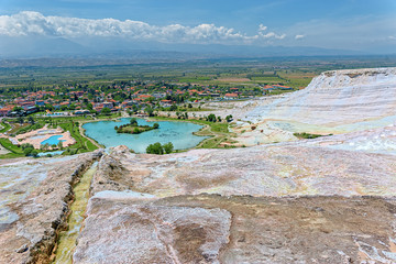Travertine pools and terraces at Pamukkale, Turkey.
