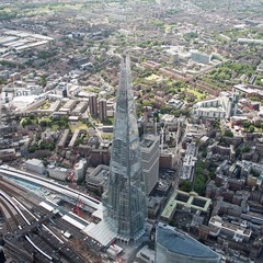 United Kingdom, England, London, Aerial view of The Shard and surrounding cityscape