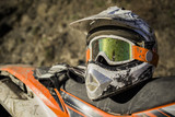 Dirty motorcycle motocross helmet with goggles - 77403258