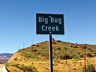 USA, Arizona, Yavapai County, Cordes Junction, Landscape with Big Bug Creek sign