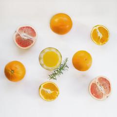 View of oranges and orange juice