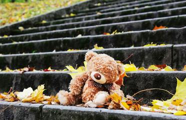 Teddy bear on the stairs