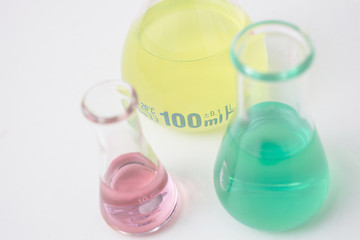 Samples in conical flasks in laboratory