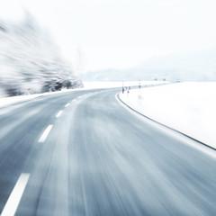 Blurred dangerous winter driving