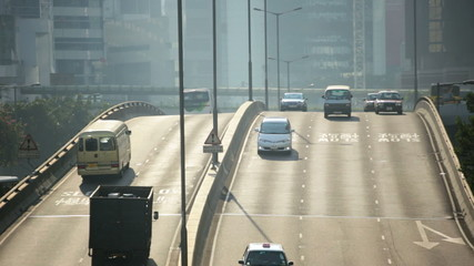 City highway flyover commuter traffic HK, China
