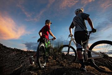 Bikers enjoying evening sky