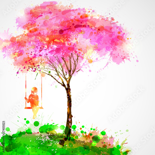 Spring blossoming tree. Dreaming girl on swing. - 77405823