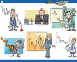 business cartoon crisis concepts set