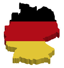Map of Germany with national flag decor