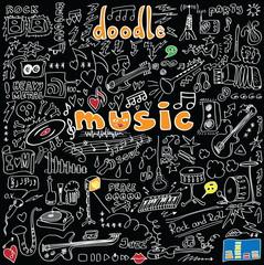 big set doodle music symbols isolated on black background