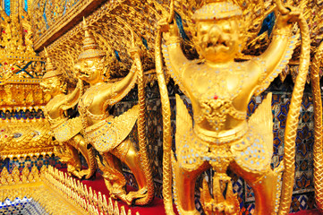 Thailand, Bangkok, Golden Garuda of Thailand grand palace