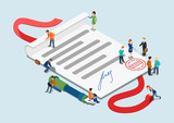 Flat 3d web isometric contract mini people infographic concept