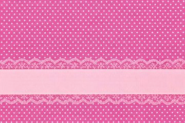 Pink retro polka dot textile background