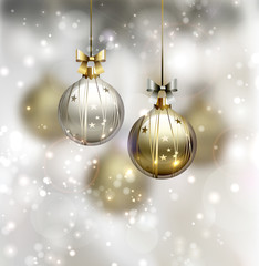 glimmered Christmas background with evening balls