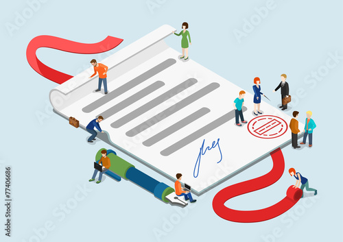 Flat 3d web isometric contract mini people infographic concept - 77406686