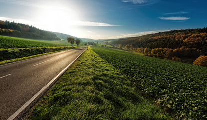 Germany, Regierungsbezirk Darmstadt, Rheingau-Taunus-Kreis, Hesse, Idstein, Country road at sunny day