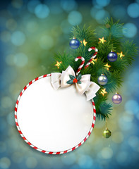holiday background with Christmas baubles