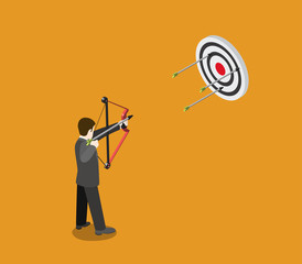 Business target concept flat 3d web isometric, archer aims