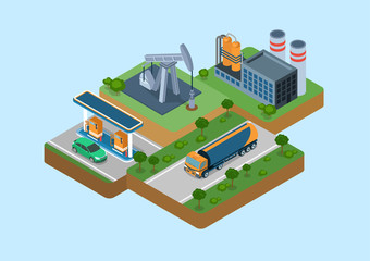Oil production cycle flat 3d web isometric infographic concept