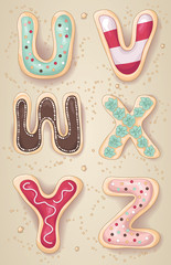 Hand drawn letters U through Z in the shape of cookies