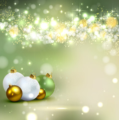 green background with Christmas baubles